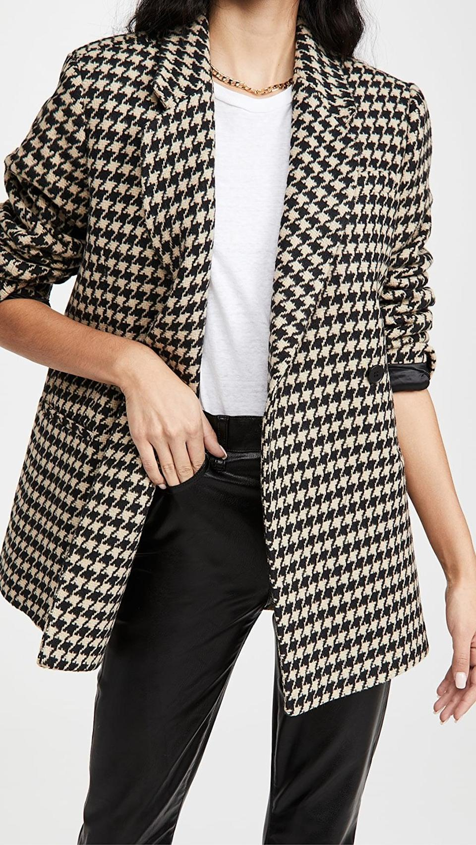 <p>Throw this <span>Anine Bing Kaia Houndstooth Blazer</span> ($399) over your favorite pair of jeans, and you'll instantly be dressed up.</p>