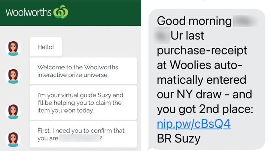 Scam Woolworths text and website.