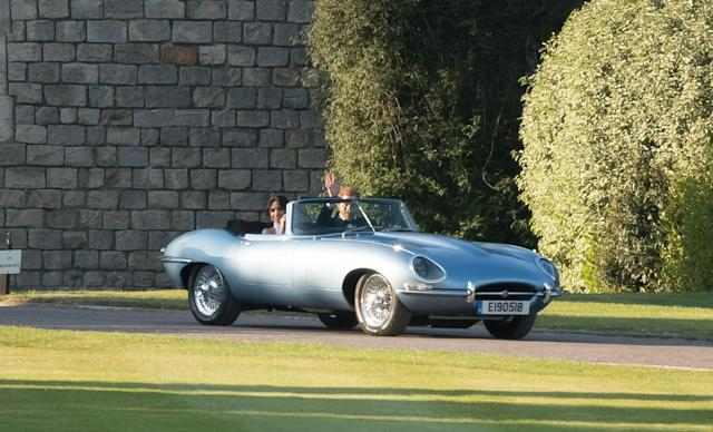 The newlyweds departed Windsor Castle in a vintage Jaguar. (Photo: Getty Images)