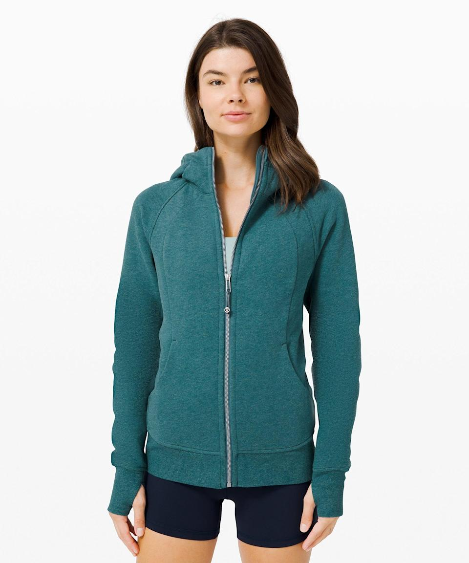 """<h3>Scuba Hoodie Light Cotton Fleece</h3><br>Fact: You can never own too many zip-up fleeces. For extra-drafty apartments, this lightweight cotton fleece will be your new MVP. Plus, thumbholes will keep you feeling secure while a brisk morning power walk.<br><br><strong>What They're Saying:</strong> """"Great fit. Comfortable to lounge in but also works for a cold outdoor workout!""""<br><br><strong>lululemon</strong> Scuba Hoodie Light Cotton Fleece, $, available at <a href=""""https://go.skimresources.com/?id=30283X879131&url=https%3A%2F%2Fshop.lululemon.com%2Fp%2Floungewear%2FScuba-Hoodie-IV%2F_%2Fprod8351133%3Fcolor%3D46266"""" rel=""""nofollow noopener"""" target=""""_blank"""" data-ylk=""""slk:lululemon"""" class=""""link rapid-noclick-resp"""">lululemon</a>"""