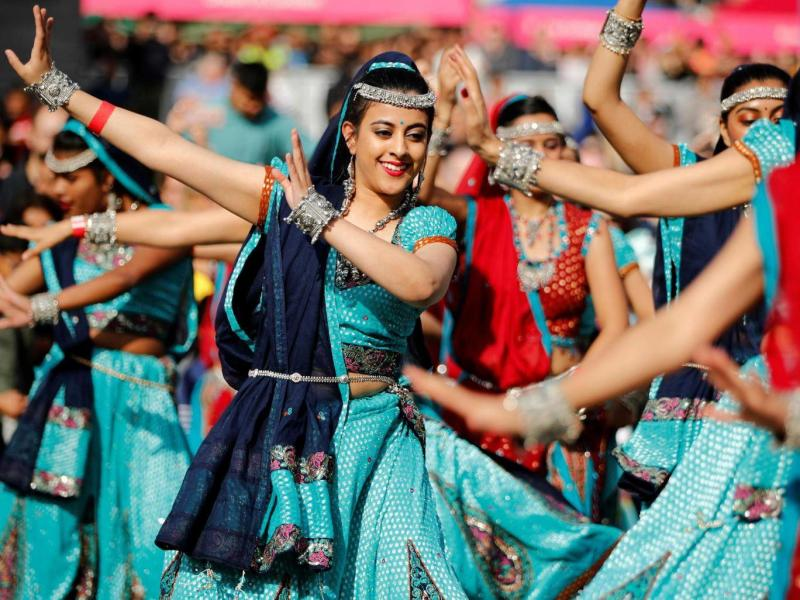 Dancers perform a traditional Indian dance during the Diwali festival of light celebrations, in Trafalgar Square (Reuters)