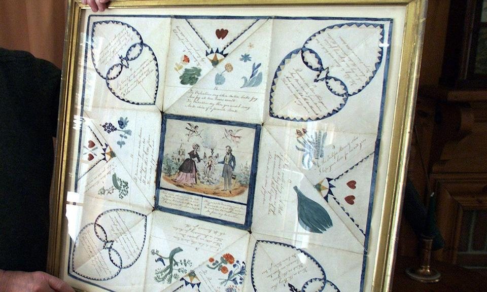 "<p>If you really want to go all out with a handmade of expression of your love, take a cue from the Victorians and make a ""puzzle purse."" These gifts were a series of love letters that were meant to be read separately, but also fit together to create a beautiful design and message, according to <a href=""https://www.bustle.com/articles/140351-7-valentines-day-traditions-from-history-that-will-make-you-cringe-andor-melt"" rel=""nofollow noopener"" target=""_blank"" data-ylk=""slk:Bustle"" class=""link rapid-noclick-resp"">Bustle</a>. Use the Valentine puzzle purse tutorial from <a href=""http://www.victoriantreasury.com/library/2007-01_Puzzle_Purses/"" rel=""nofollow noopener"" target=""_blank"" data-ylk=""slk:VictorianTreasury.com"" class=""link rapid-noclick-resp"">VictorianTreasury.com</a> to make one at home this year.</p>"