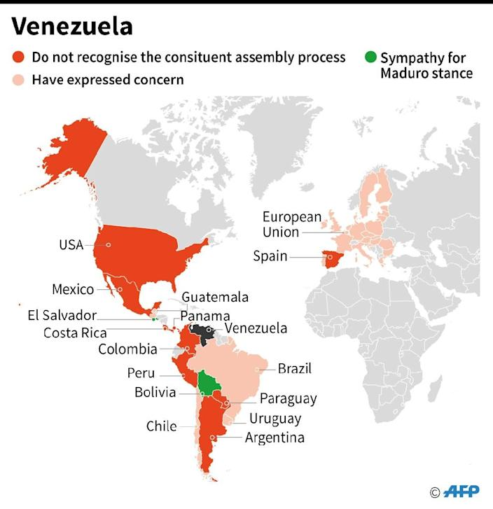 Map showing countries that have taken a stance on Venezuelan President Nicolas Maduro plans for an assembly to rewrite the constitution (AFP Photo/Gustavo IZUS)