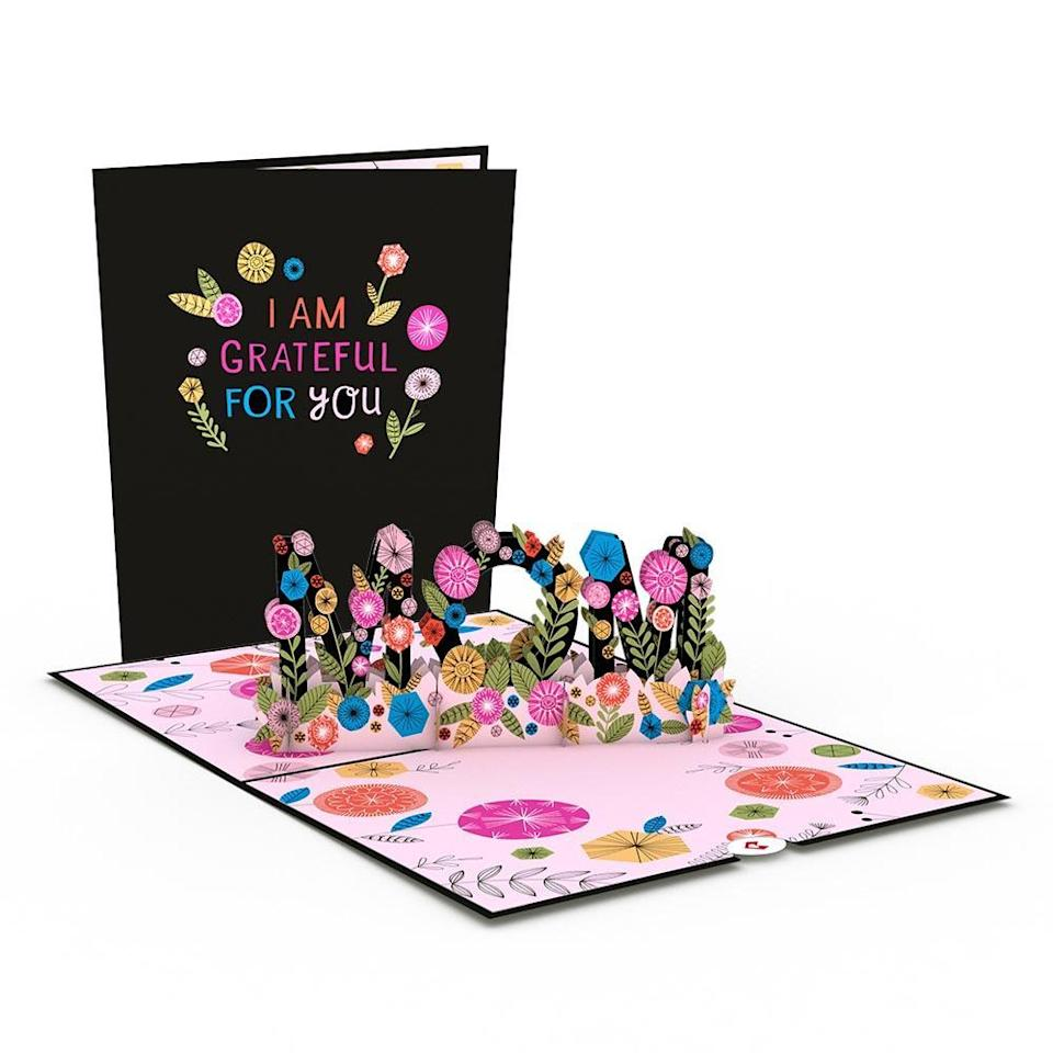 """<h2>Lovepop Cards</h2><br><strong>Best For: Pretty Pop-Up Art</strong><br>Lovepop creations are a gift all on their own with their grand cardstock sculptures. Mom can open up her card to find paper trophies, spring bouquets, and more whimsical art. <br><br><em>Shop</em> <strong><em><a href=""""https://www.lovepopcards.com/"""" rel=""""nofollow noopener"""" target=""""_blank"""" data-ylk=""""slk:Lovepop Cards"""" class=""""link rapid-noclick-resp"""">Lovepop Cards</a></em></strong><br><br><strong>Lovepop Cards</strong> Grateful for Mom 3D card, $, available at <a href=""""https://go.skimresources.com/?id=30283X879131&url=https%3A%2F%2Fwww.lovepopcards.com%2Fproducts%2Fgrateful-for-mom-pop-up-card"""" rel=""""nofollow noopener"""" target=""""_blank"""" data-ylk=""""slk:Lovepop Cards"""" class=""""link rapid-noclick-resp"""">Lovepop Cards</a>"""