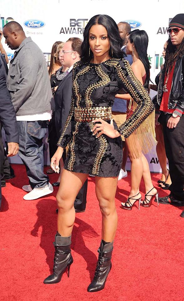 "Ciara accentuated her muscular gams in a black and gold embroidered Balmain Fall 2010 mini, which she paired with some fierce Giuseppe Zanotti for Balmain booties. Jeff Kravitz/<a href=""http://www.filmmagic.com/"" target=""new"">FilmMagic.com</a> - June 27, 2010"