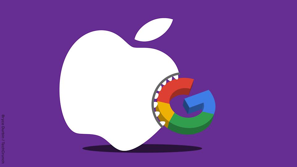 Image of an Apple logo with teeth biting the Google search logo.