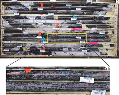 Figure 2. C19-08 drill core showing composite intersection from 262.50m to 278.00 m of 15.50 m of 32.19 gpt gold. Figure 2a. C19-08 drill core of fluidized breccia. Note subangular aligned quartz diorite fragments within pulverized quartz diorite matrix. (CNW Group/Nighthawk Gold Corp.)
