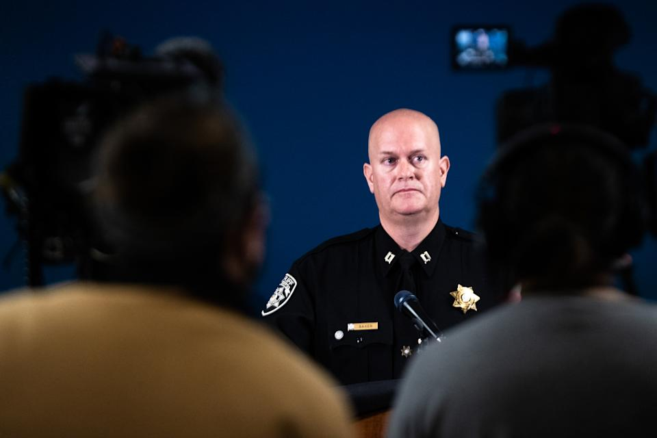 Captain Jay Baker, of the Cherokee County Sheriffs Office, addresses media during a press conference. Source: AAP