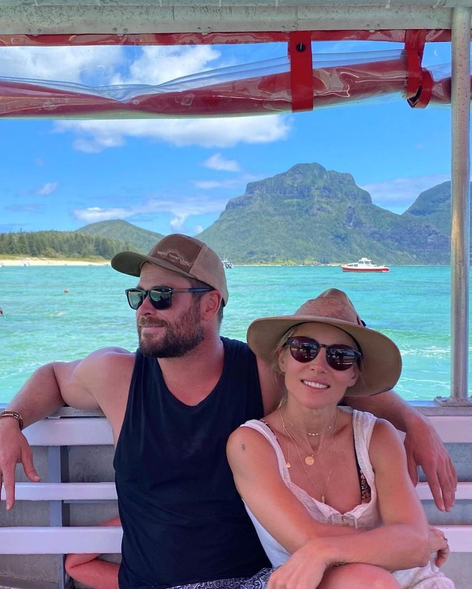 Elsa Pataky and Chris Hemsworth on a boat together on Lord Howe Island