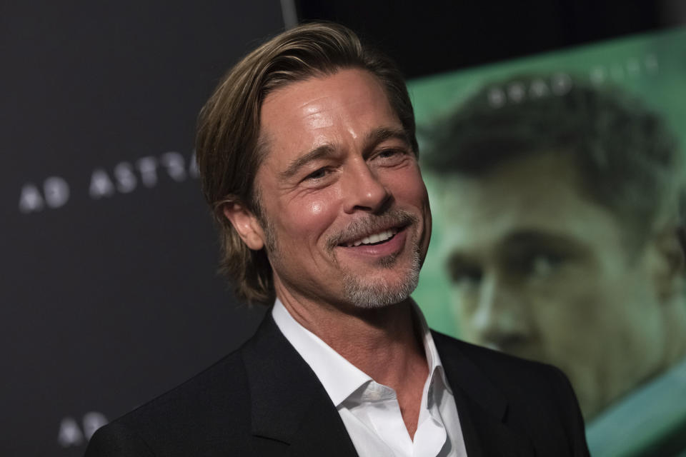 """Actor Brad Pitt attends a special screening of """"Ad Astra"""" at the National Geographic Museum on Monday, Sept. 16, 2019, in Washington. (Photo by Brent N. Clarke/Invision/AP)"""