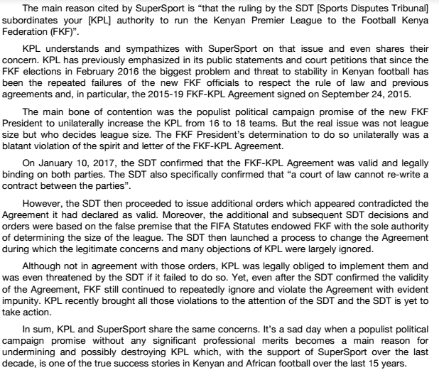 KPL response to SuperSport termination