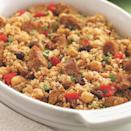 <p>Fragrant with North African spices and made hearty with chunks of lean pork, this bulgur pilaf casserole recipe is ready to go in the oven in just 25 minutes. Vary the dish by substituting shrimp, Pacific cod fillets or chunks of boneless, skinless chicken thighs for the pork.</p>