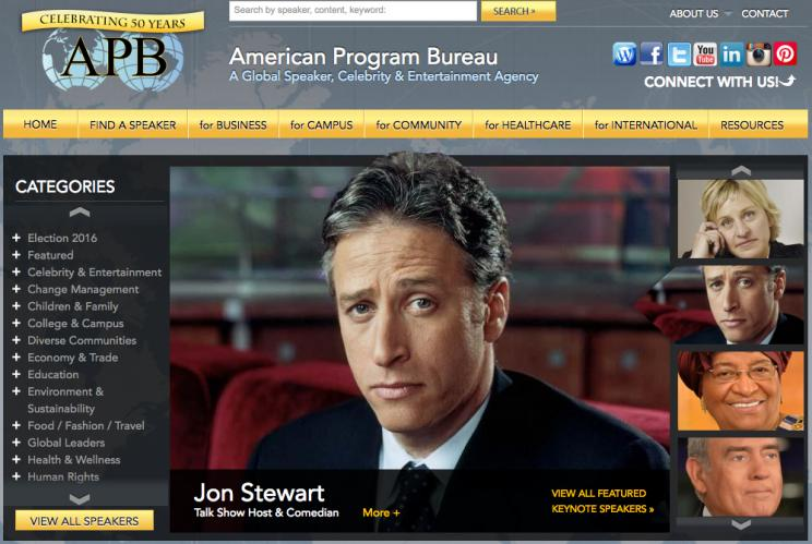 The website for the American Program Bureau.