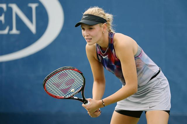 <p>Donna Vekic of Croatia during her first round Women's Singles match against Beatriz Haddad Maia of Brazil on Day One of the 2017 US Open at the USTA Billie Jean King National Tennis Center on August 28, 2017 in the Flushing neighborhood of the Queens borough of New York City. (Photo by Abbie Parr/Getty Images) </p>