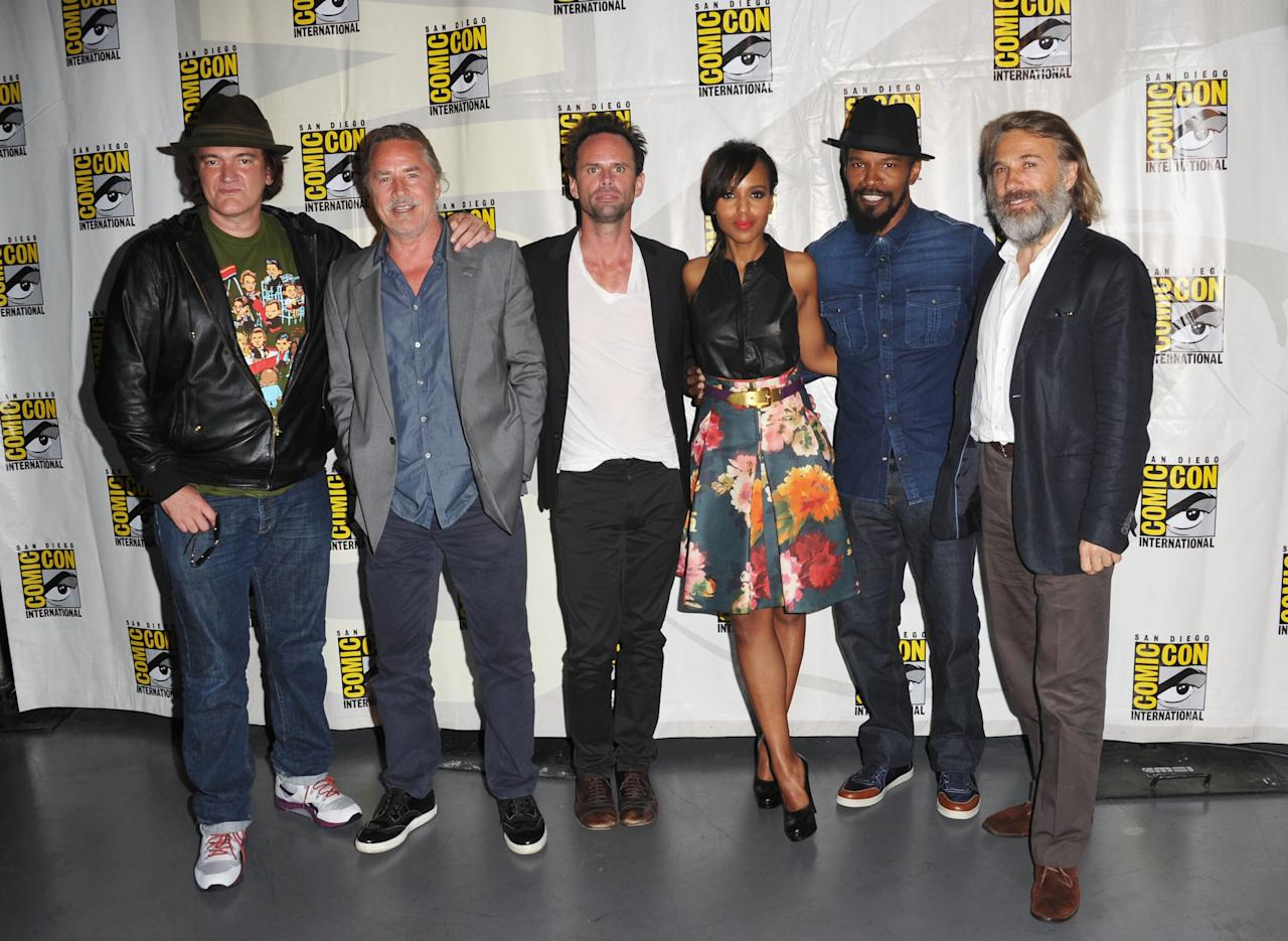 "SAN DIEGO, CA - JULY 14:  (L-R) Director Quentin Tarantino, actors Don Johnson, Walton Goggins, Kerry Washington, Jamie Foxx, and Christoph Waltz  at the ""Django Unchained"" panel during Comic-Con International 2012 at San Diego Convention Center on July 14, 2012 in San Diego, California.  (Photo by Albert L. Ortega/Getty Images)"