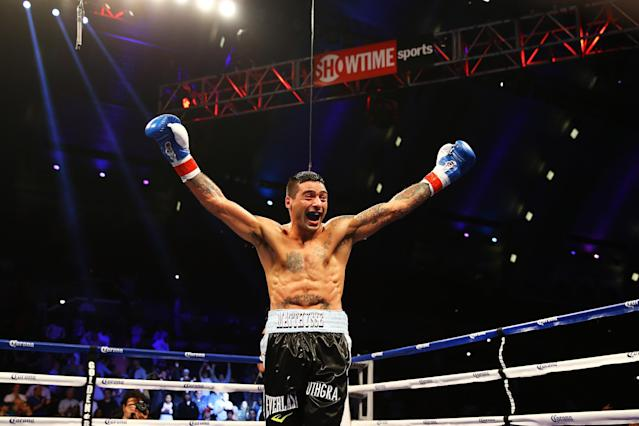 ATLANTIC CITY, NJ - MAY 18: Lucas Matthysse celebrates his third round TKO win against Lamont Peterson during their Welterweight fight at Boardwalk Hall Arena on May 18, 2013 in Atlantic City, New Jersey. (Photo by Al Bello/Getty Images)