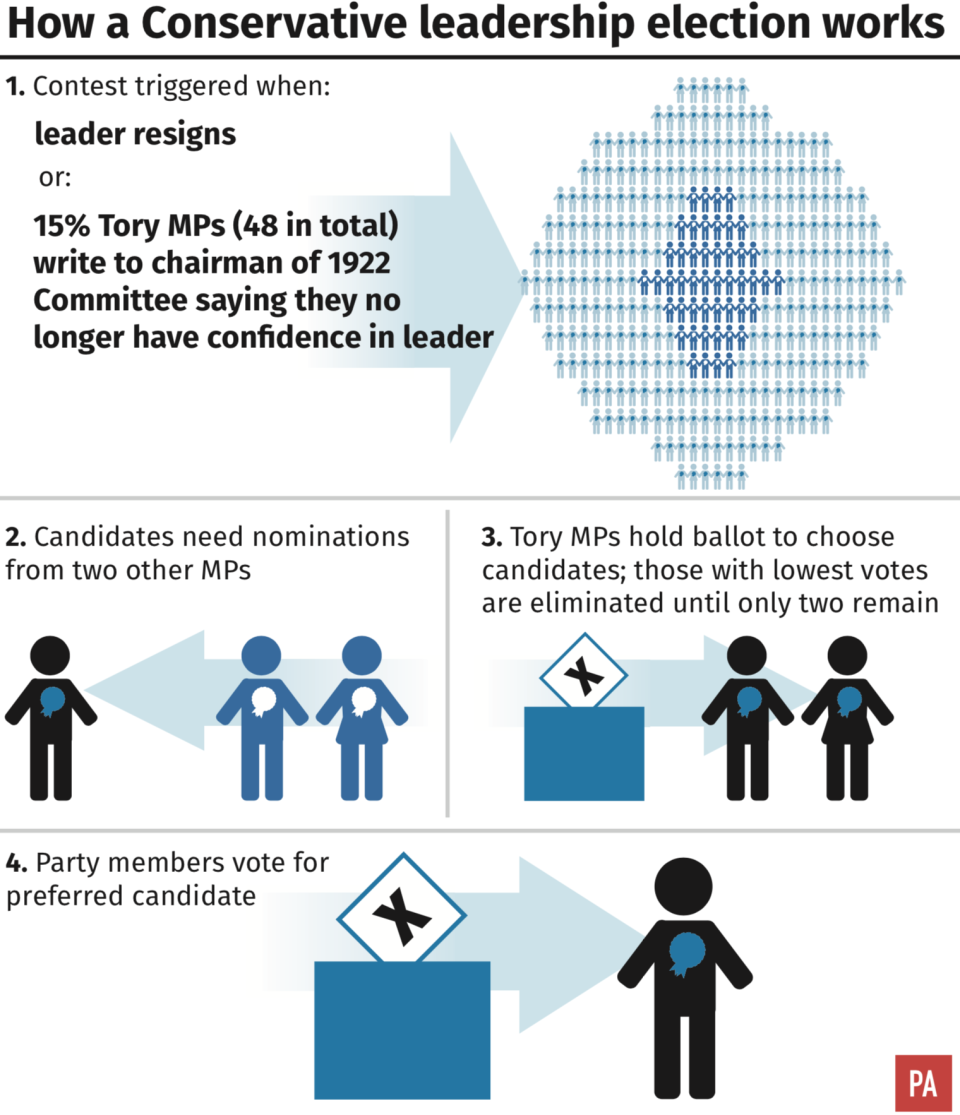 <span>An avalanche of departures could trigger a leadership contest in the Tory party. </span>(PA)