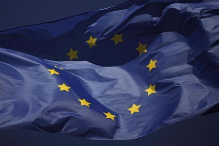 The European flag flies outside of the La Canada shopping centre in Marbella, southern Spain