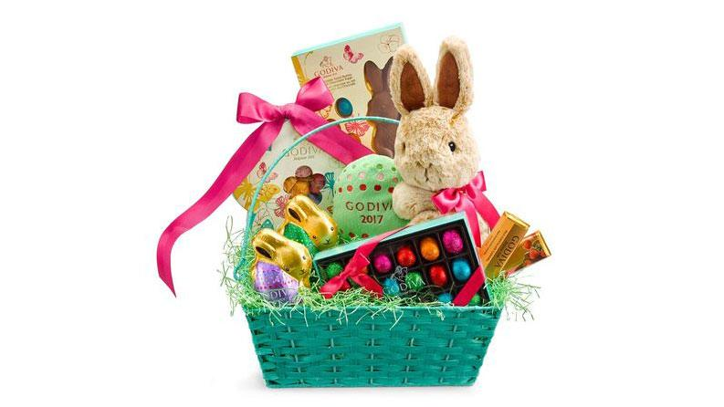 """<p>This pre-assembled Easter basket has everything you need: chocolate bunnies, eggs, <a rel=""""nofollow"""" href=""""http://www.foodandwine.com/slideshows/best-chocolate-truffles"""">truffles</a> and a stuffed bunny. ($100, <a rel=""""nofollow"""" href=""""http://www.godiva.com/enchanted-easter-gift-basket/11907.html#!cgid=easter-gift-baskets&start=3"""">Godiva</a>)</p>"""