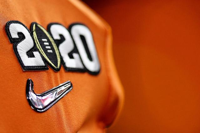 A detailed view of the 2020 logo is seen on the jersey of a Clemson Tigers player prior to the College Football Playoff title game between Clemson and LSU. (Chris Graythen/Getty Images)
