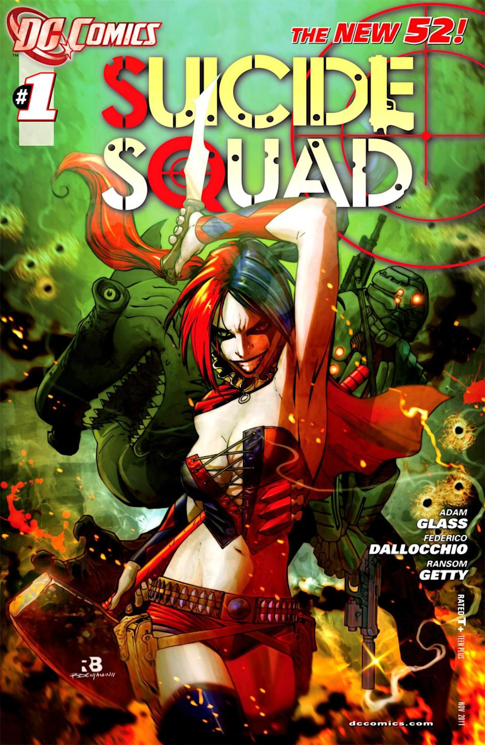 "<p>In 2011, DC rebooted its comic universe, with Harley featured majorly in several books of ""The New 52,"" including a reimagined <i>Suicide Squad</i>. The heavy makeup, two-toned hair, and barely there costume informs Robbie's movie look. ""I was really excited when 'The New 52' came out… They did a solo book on her, and the <i>Suicide Squad</i> was going to use her. She was also such a prominent element in the video games. Suddenly she was everywhere,"" says Dini. <i>(Image: DC Comics)</i></p>"