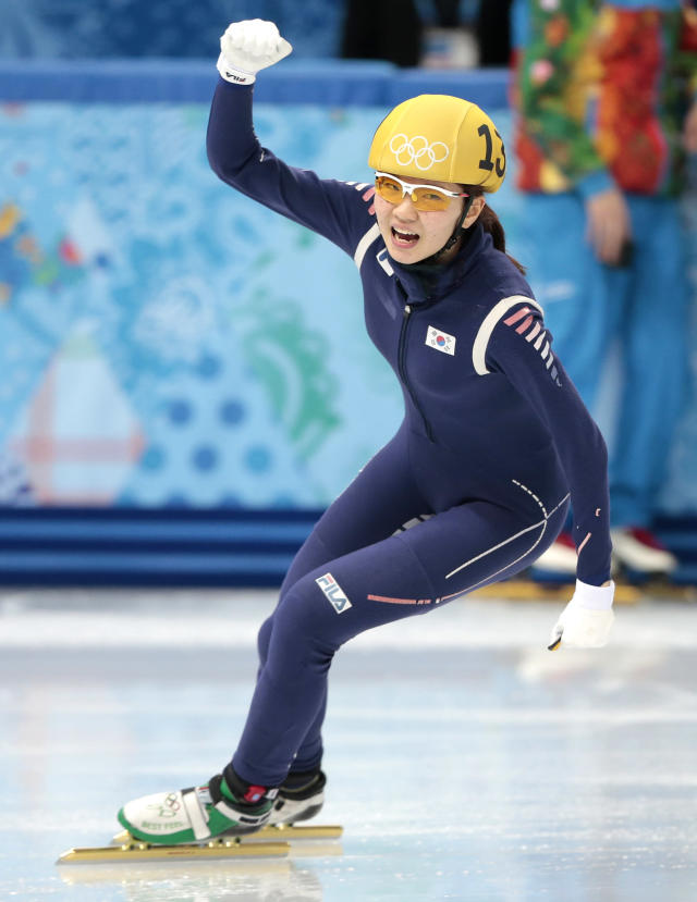 Cho Ha-ri of South Korea reacts as they win in the women's 3000m short track speedskating relay final at the Iceberg Skating Palace during the 2014 Winter Olympics, Tuesday, Feb. 18, 2014, in Sochi, Russia. (AP Photo/Ivan Sekretarev)