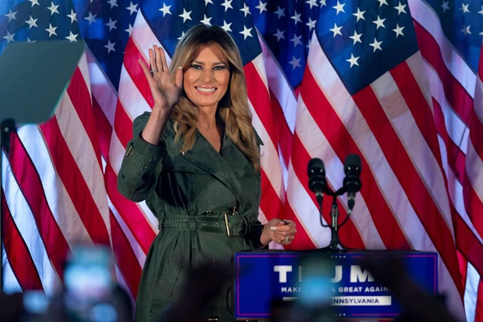 First lady Melania Trump prepares to speak at a campaign rally on Oct. 27, 2020, in Atglen, Pa.