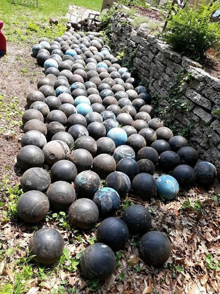 David Olson's final count of the buried bowling balls totaled 160, though he said there are definitely more still buried.