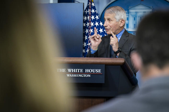 Dr. Anthony Fauci, director of the National Institute of Allergy and Infectious Diseases, addresses a news conference about the pause in the Johnson & Johnson COVID-19 vaccine, at the White House in Washington on Tuesday, April 13, 2021. (Pete Marovich/The New York Times)