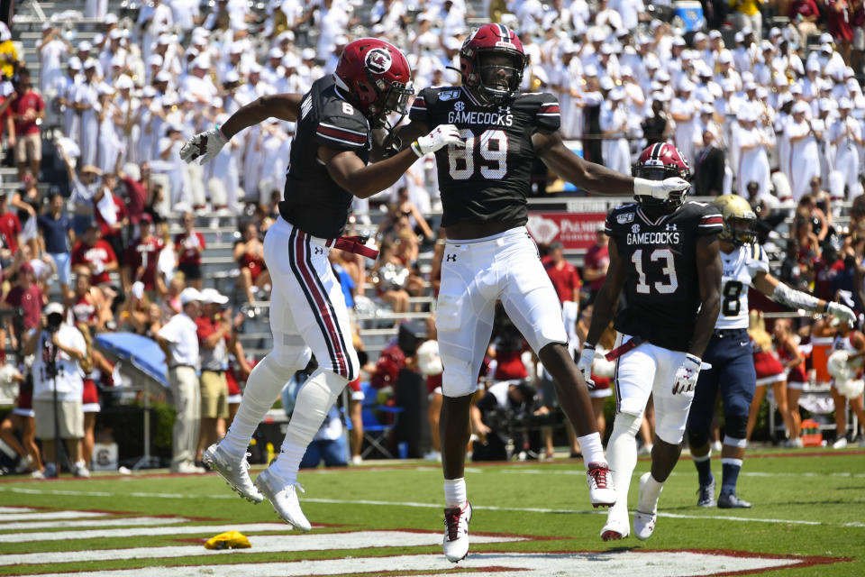 South Carolina wide receiver Bryan Edwards (89) celebrates his touchdown with Josh Vann during the first half of an NCAA college football game against Charleston Southern, Saturday, Sept. 7, 2019, in Columbia, S.C. (AP Photo/John Amis)