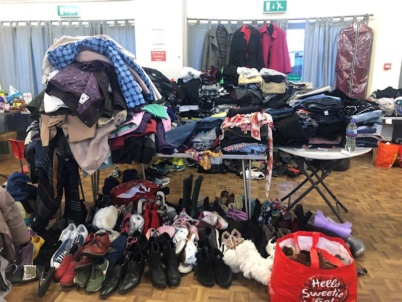 Donations at Taff's Well village hall for those affected by Storm Dennis. (Photo: PA)