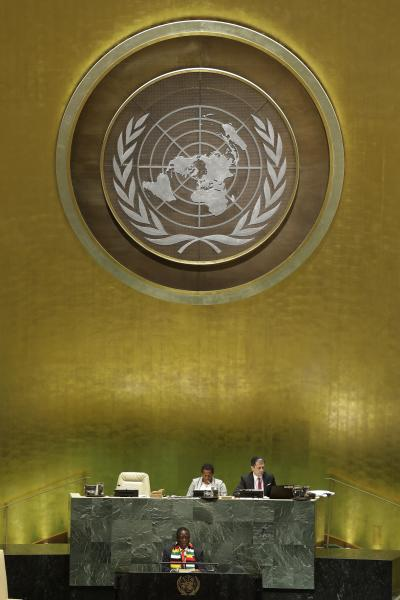 Zimbabwe's President Emmerson Dambudzo Mnangagwa addresses the 74th session of the United Nations General Assembly, Wednesday, Sept. 25, 2019, at the United Nations headquarters. (AP Photo/Frank Franklin II)