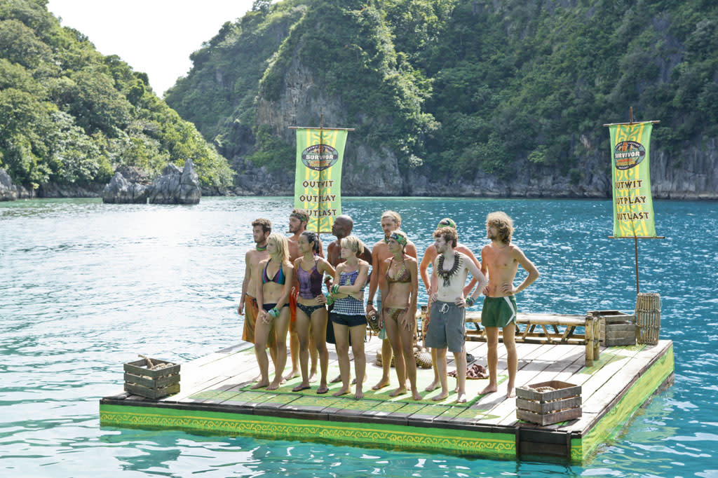 """Cut Off the Head of the Snake"" - The tribe stands together before the Immunity Challenge during the ninth episode of ""Survivor: Caramoan - Fans vs. Favorites."""