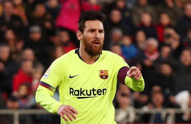 "<a class=""link rapid-noclick-resp"" href=""/soccer/players/372884/"" data-ylk=""slk:Lionel Messi"">Lionel Messi</a> celebrates scoring <a class=""link rapid-noclick-resp"" href=""/soccer/teams/barcelona/"" data-ylk=""slk:Barcelona"">Barcelona</a>'s second goal in Sunday's 2-0 win at <a class=""link rapid-noclick-resp"" href=""/soccer/teams/girona/"" data-ylk=""slk:Girona"">Girona</a>. (Reuters/Sergio Perez)"