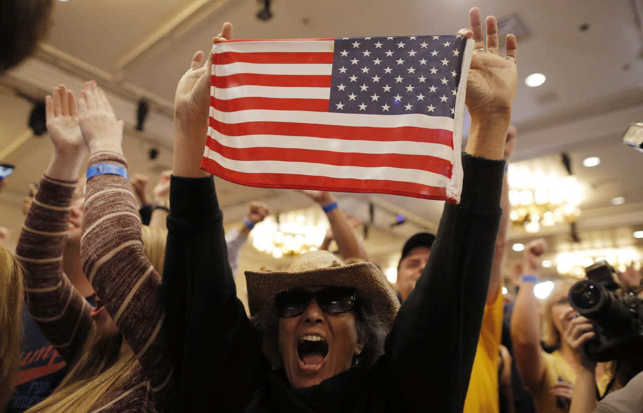 <p>Supporters of Republican U.S. presidential candidate Donald Trump celebrate as television networks declare him the winner of the Nevada Republican caucuses at Trump's Nevada caucus rally in Las Vegas, Feb. 23, 2016. <i>(Photo: Jim Young/Reuters)</i></p>