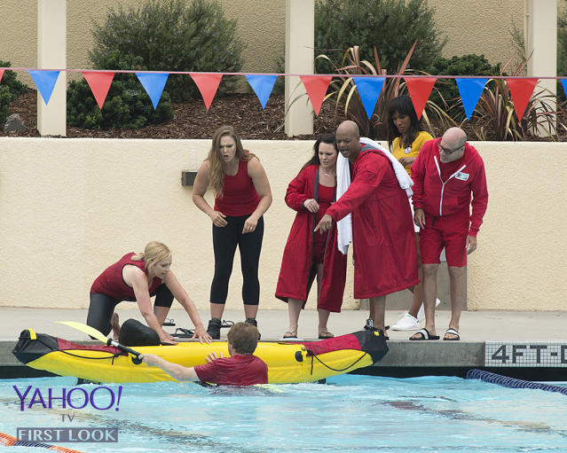 <p>The TV Sitcoms team seem to have a little trouble with the kayak relay.<br><br>(Photo Credit: Kelsey McNeal/ABC) </p>