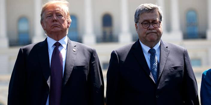 President Donald Trump with Attorney General William Barr at the 38th Annual National Peace Officers' Memorial Service at the US Capitol on May 15.