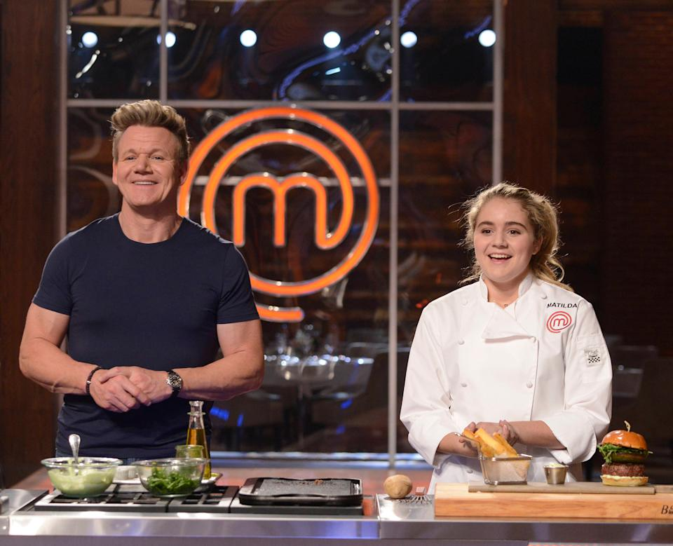 Gordon Ramsay and daughter Matilda Ramsay appear on Junior MasterChef. (Photo by FOX Image Collection via Getty Images)