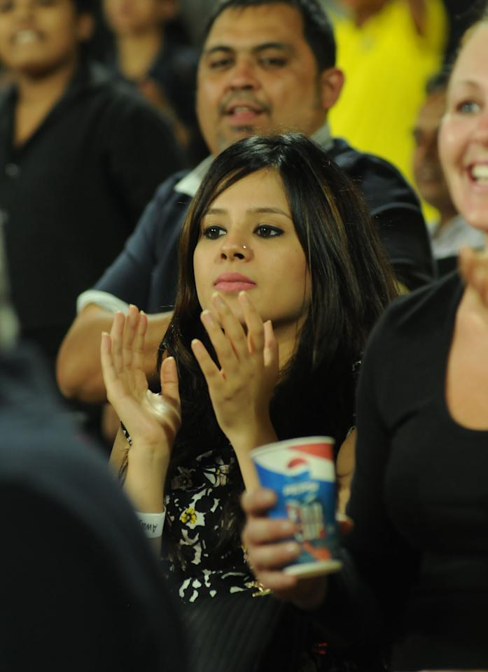 CSK Skipper MS Dhoni's wife Sakshi couldn't hide her nerves during their match against the Delhi Daredevils held at the Feroz Shah Kotla Stadium, Delhi on the 18th April 2013. Photo by Arjun Panwar-IPL-SPORTZPICS