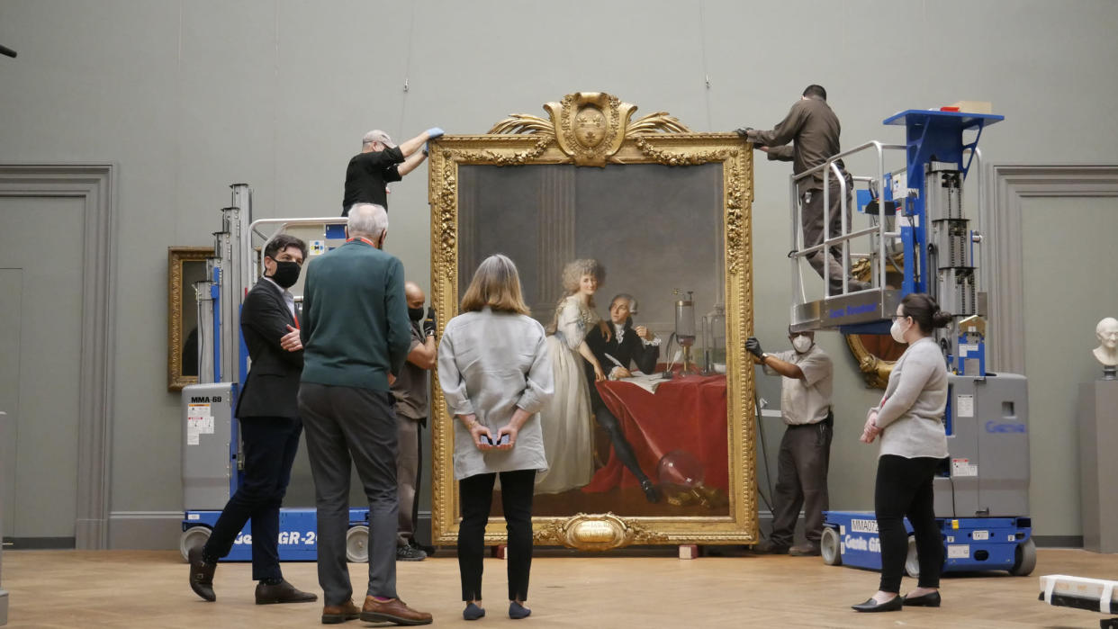 Programme Name: Inside America's Treasure House: The Met - TX: n/a - Episode: Inside America's Treasure House: The Met - Generics (No. Generics) - Picture Shows: The hanging of Jacques Louis David's Portrait of Antoine-Laurent and Marie Anne Lavoisier at The Met Museum, New York.  - (C) Oxford Flms - Photographer: Eddie Knox
