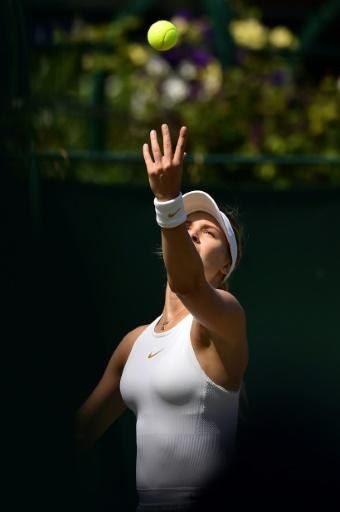 Out of the shadows: Eugenie Bouchard serves to Gabriella Taylor