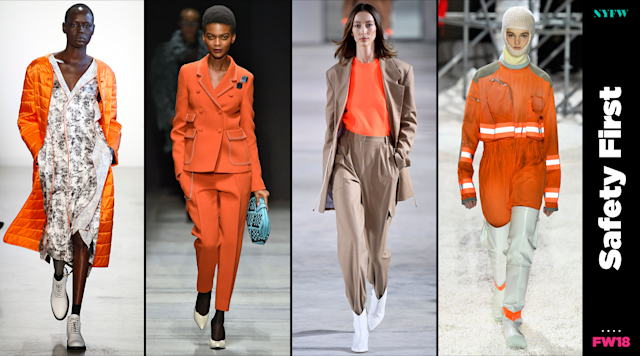 "At NYFW, ""safety orange"" is a big trend for fall. (Photo: Getty/Art: Quinn Lemmers)"