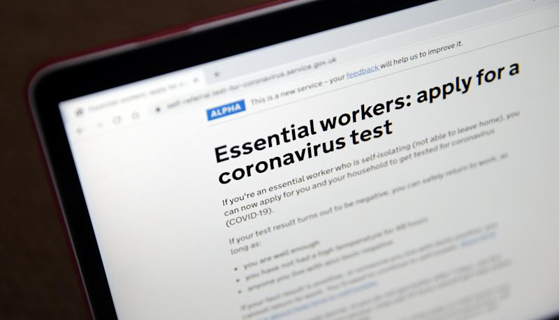 A view of the government's website for essential workers to apply for a coronavirus test, as the UK continues in lockdown to help curb the spread of the coronavirus. Picture date: Monday April 27, 2020.