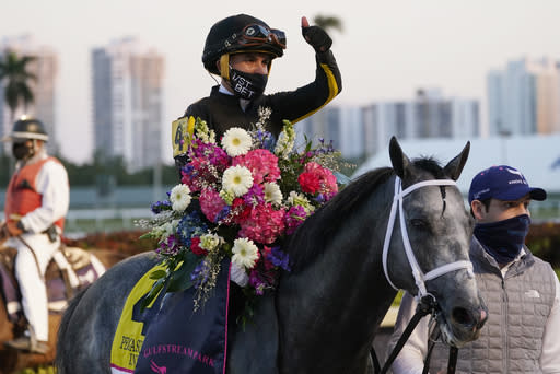 Joel Rosario sits on Knicks Go on the way to the winner's circle after their win in the Pegasus World Cup Invitational horse race Saturday, Jan. 23, 2021, at Gulfstream Park in Hallandale Beach, Fla. (AP Photo/Marta Lavandier)