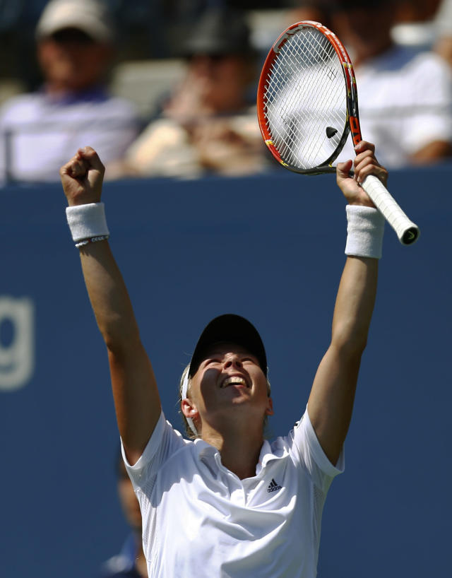 Johanna Larsson, of Sweden, reacts after defeating Sloane Stephens, of the United States, during the second round of the 2014 U.S. Open tennis tournament, Wednesday, Aug. 27, 2014, in New York. (AP Photo/Matt Rourke)