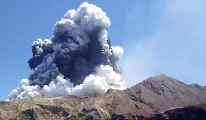 Smoke rising from the White Island volcano. Photo: Reuters
