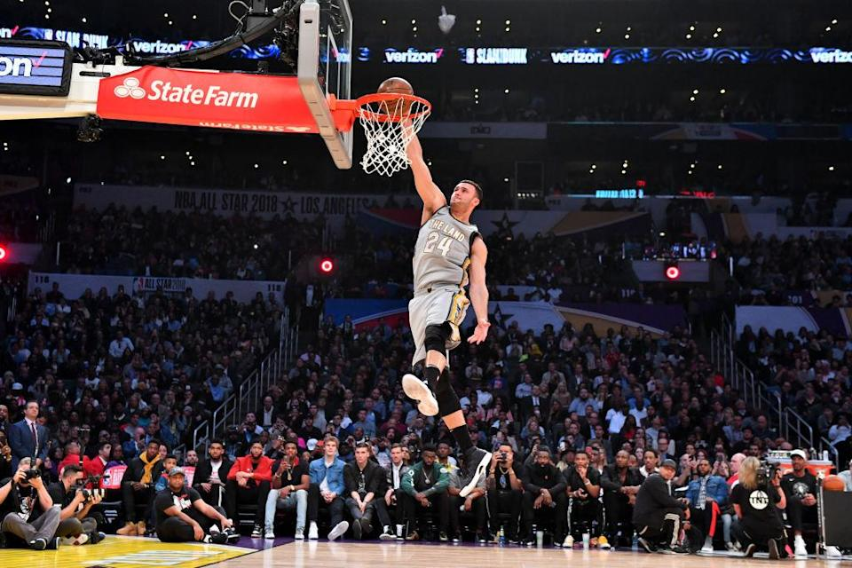 Larry Nance Jr. finished second in the 2018 Verizon Slam Dunk Contest at All-Star weekend in Los Angeles. (Getty)