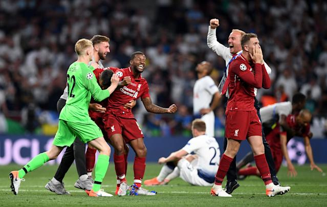 Liverpool players celebrate at full time after the UEFA Champions League final. (Photo by Harriet Lander/Copa/Getty Images)