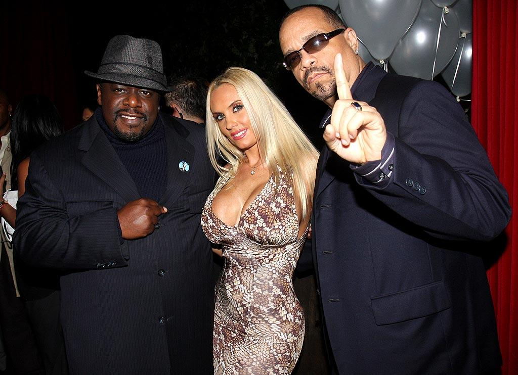 "Cedric the Entertainer catches up with Ice-T and his buxom wife, Coco. Johnny Nunez/<a href=""http://www.wireimage.com"" target=""new"">WireImage.com</a> - November 5, 2008"