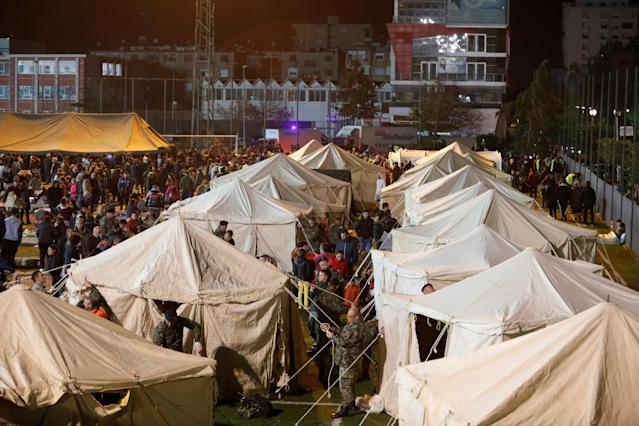 A makeshift camp set up in Durres after the quake in Albania struck (Reuters)